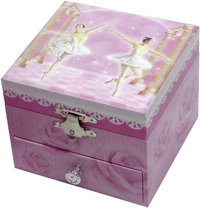 Caja Joyero musical de bailarina con cajón, forma cuadrada, color rosa: Amazon.es: Hogar