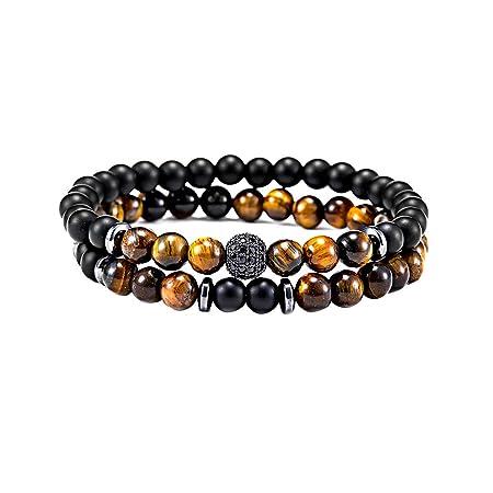 70cfaa50ddf92 Hosaire 1 Set Men s Bracelet Fashion Natural Stone Micro-set Ball Elastic Beaded  Bracelet Men s Party Jewelry Stocking Filler (Gold)  Amazon.co.uk  Kitchen  ...