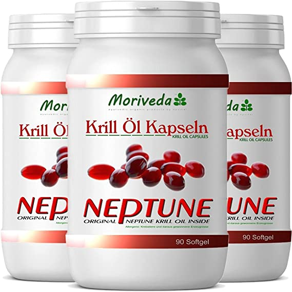 Krillöl Kapseln 270, 100% reines NEPTUNE Premium Krill Öl - Omega 3,6,9 Astaxanthin, Phospholipide, Choline, Vitamin-E - Markenqualität von MoriVeda (3x90): ...