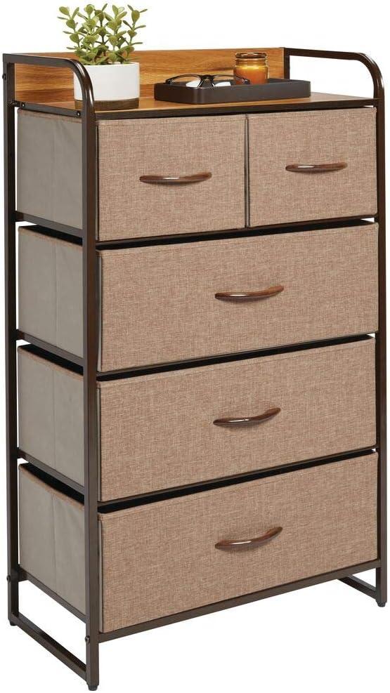 mDesign Tall Dresser Storage Chest - Sturdy Steel Frame, Wood Top, Easy Pull Fabric Bins - Organizer Unit for Bedroom, Hallway, Entryway, Closet - Textured Print, 5 Drawers - Coffee/Espresso Brown