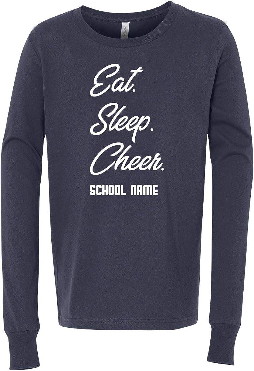 Custom Cheer Eat Sleep Cheer Girls Boys Long Sleeve