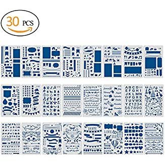 30pcs Journal Painting Stencil with Extra 6 Different Design of Cards(No Duplicate)-Notebook/Diary/Scrapbook Plastic DIY Drawing Template,4x7 Inch