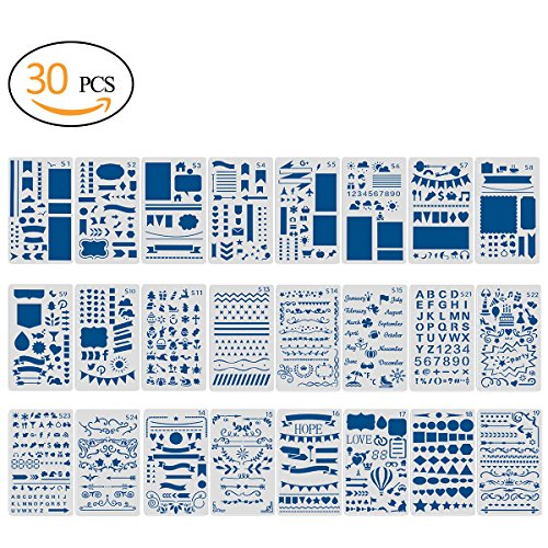 30pcs Journal Painting Stencil with Extra 6 Different Design of Cards(No Duplicate)-Notebook/Diary/Scrapbook Plastic DIY Drawing Template,4x7 Inch (Rounded Corner Templates)