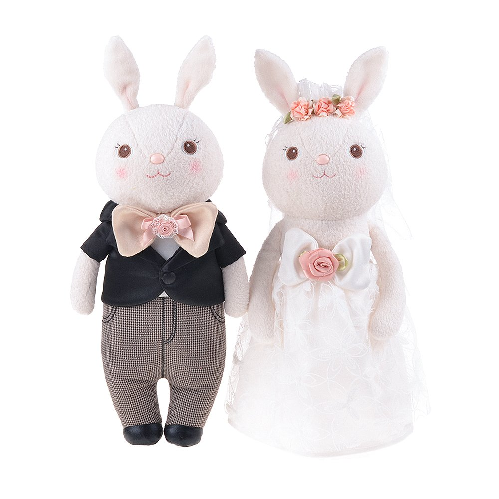 512911a7695 ... JGOO Super Soft Stuffed Bunny Plush Wedding Rabbit Couple Toys Royal  White Lace Dress Toy Doll Lovers for Children Kids Valentine s Day  Proposal  Baby