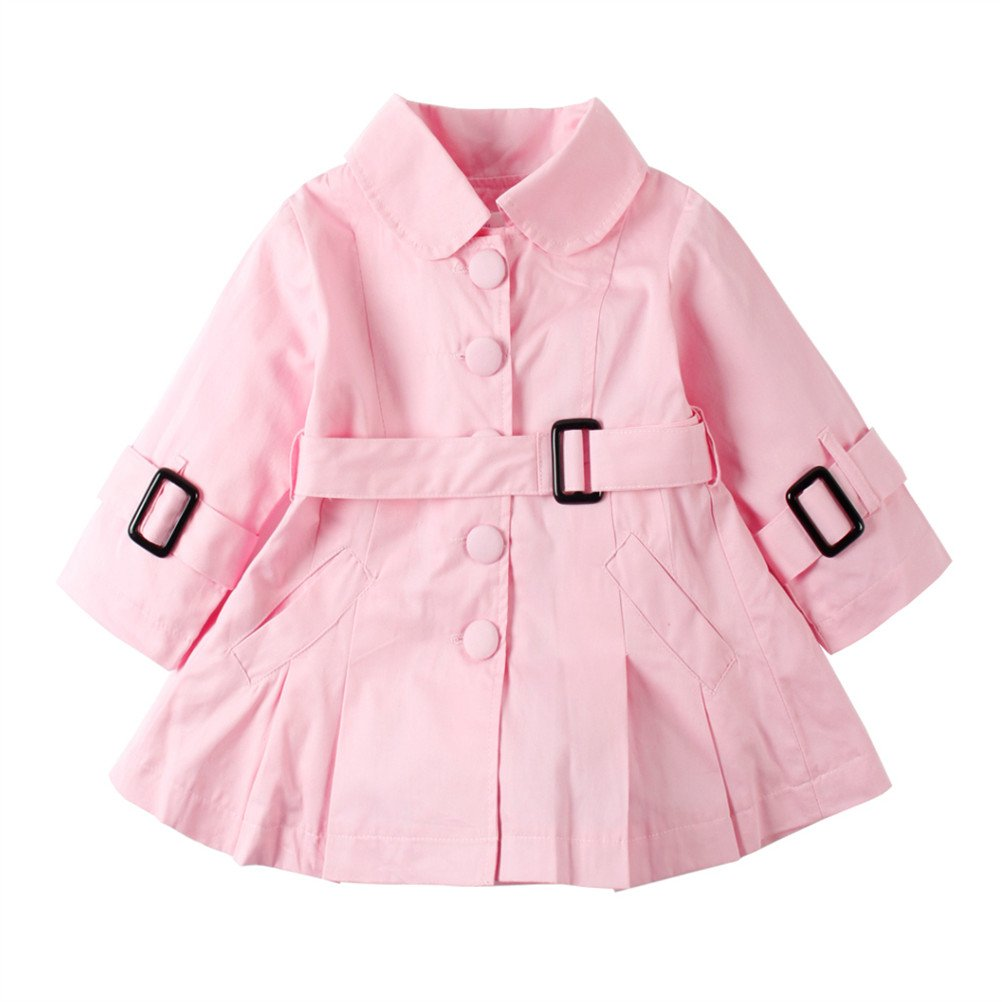 UWESPRING Girls Single-breasted Long Trench Outwear Ruffled Dress Coat
