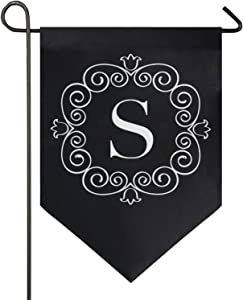 Oarencol Classic Monogram S Letter Small Garden Flag Double Sided Home Yard Decor Banner Outdoor 12.5 x 18 Inch