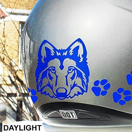 Amazoncom Reflective Decals Wolf Head Set Reflective Wolf - Motorcycle helmet decals graphicsappliedgraphics high visibility reflective motorcycle decals