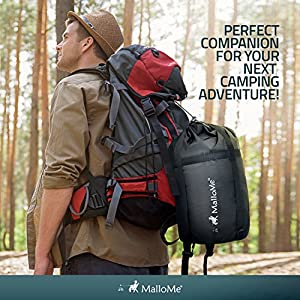 MalloMe Single Camping Sleeping Bag – 4 Season Warm Weather and Winer, Lightweight, Waterproof – Great for Adults & Kids - Excellent Camping Gear Equipment, Traveling, and Outdoor Activities