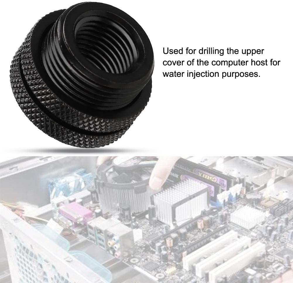 Wendry Water Cooling Fitting Tube,G1//4 Fitting Tube Computer Top Water Injection Water Cooling Compression Accessories Black