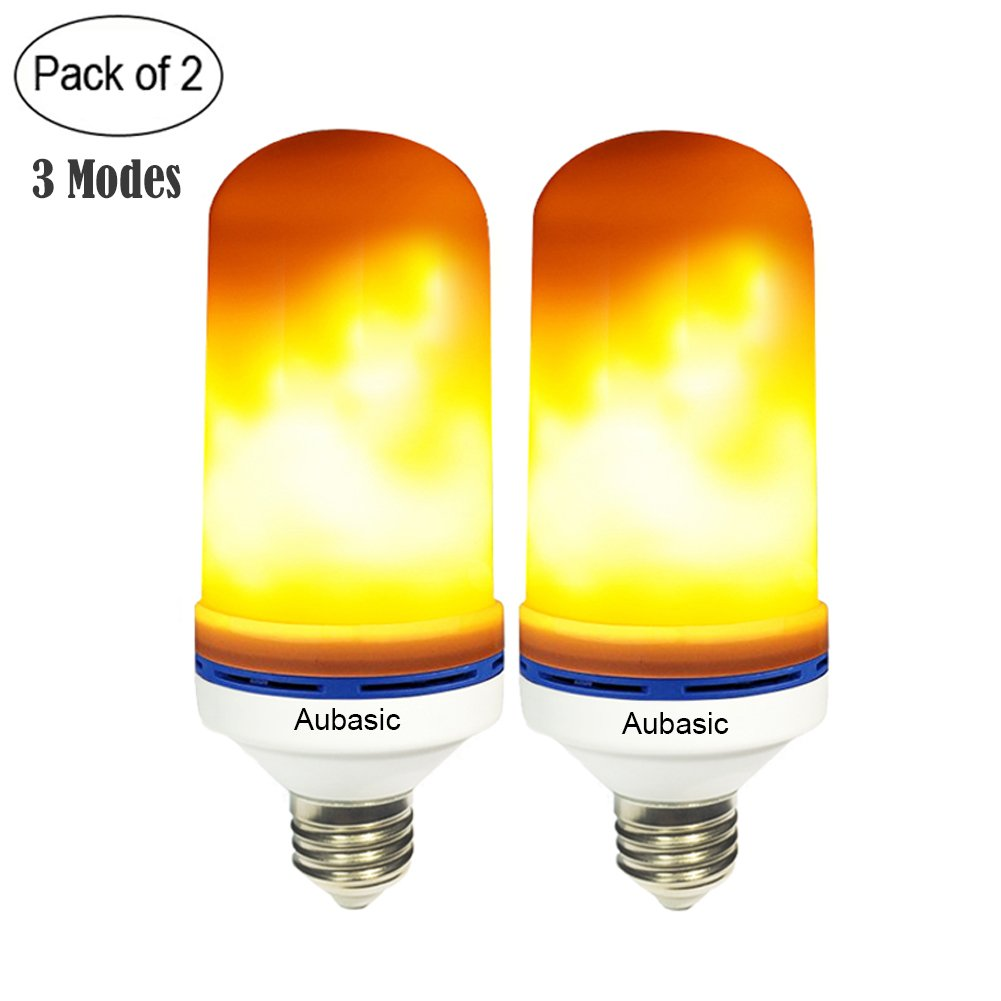 Aubasic Led Flame Bulb, 2-Pack E26 LED Effect Landscape Torch Lights, Simulated Decorative Christmas Atmosphere Lighting Fire Bulbs Emulation Flaming for Bar/Party/Hotel/Festival Decoration (2-Pack)