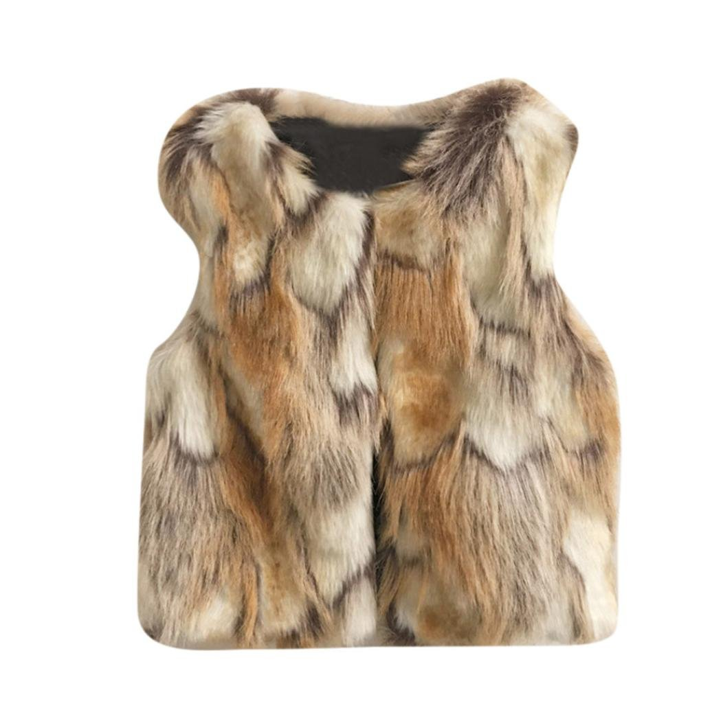 HOMEBABY Toddler Kids Baby Girl Faux Fur Gilets, Winter Warm Baby Clothes Girls Sleeveless Jacket Winter Body Vest Coat Fluffy Thick Coat Sweet WaistcoatOutwear For 3-7 Years