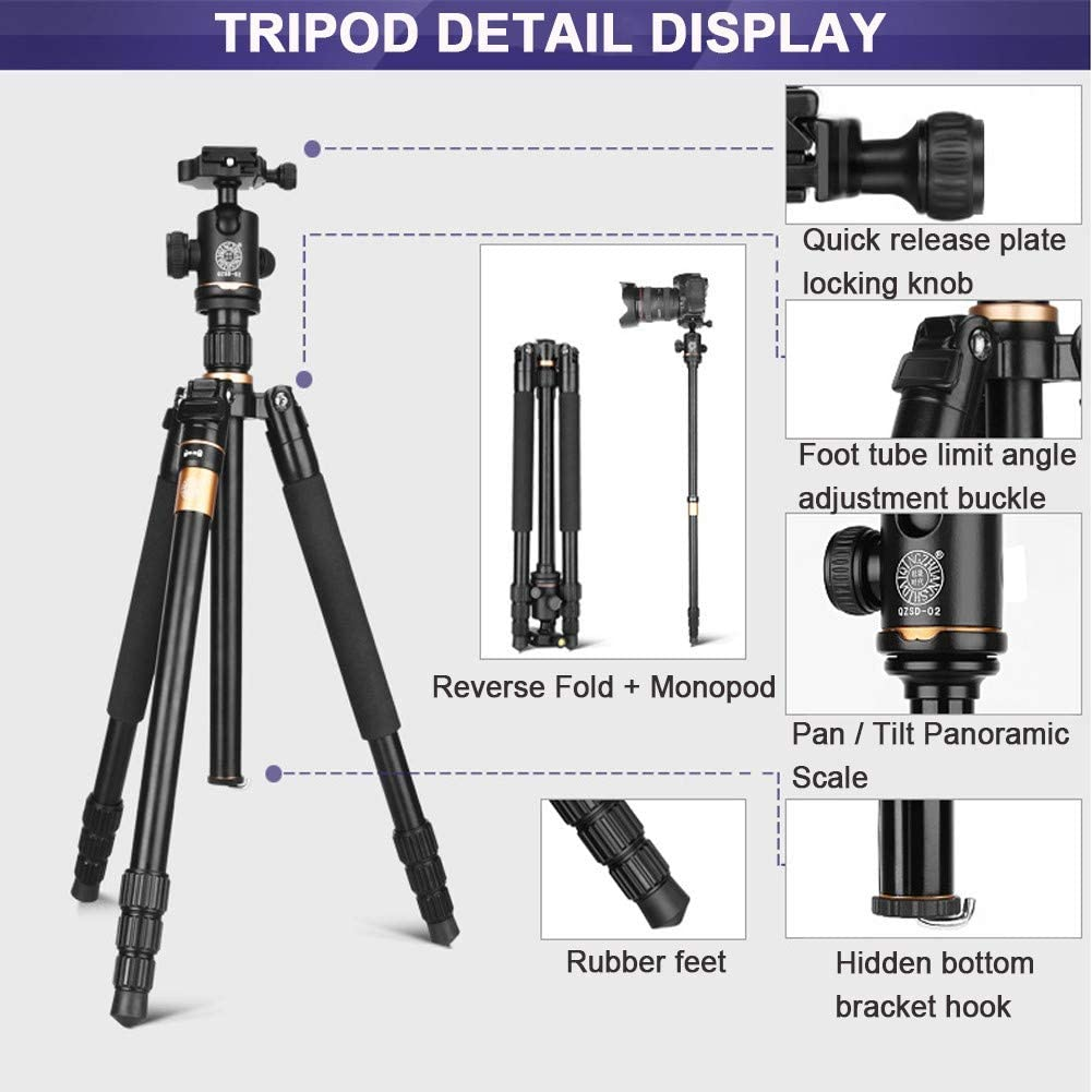 Portable Aluminum Tripod 1//4 Camera Screw Interface Adjustable Height Easy Storage Compatible with Most Devices ZXASDC Camera Tripod Phone Tripod