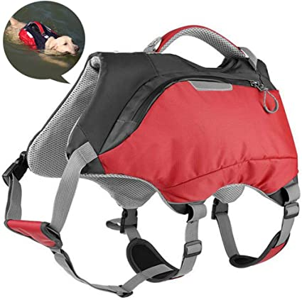 Disabled PLAFUETO 3 in 1 Waterproof Dog Backpack Life Jacket Vest Dog Lift Support Pet Harness Saddle Bag Hiking Gear for Camping Swiming Traveling Dog Accessories Also Fit for Old Injured Dogs