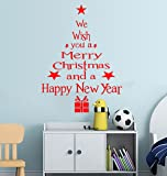 Decals Design 'Happy Christmas and Happy Year Quote' Wall Sticker (PVC Vinyl, 60 cm x 45 cm, Red)