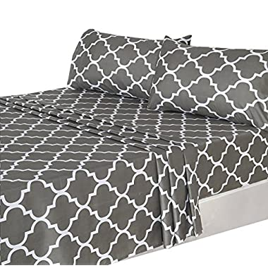 4 Piece Bed Sheets Set (Queen, Grey) 1 Flat Sheet 1 Fitted Sheet and 2 Pillow Cases - Hotel Quality Brushed Velvety Microfiber - Luxurious - Extremely Durable - by Utopia Bedding