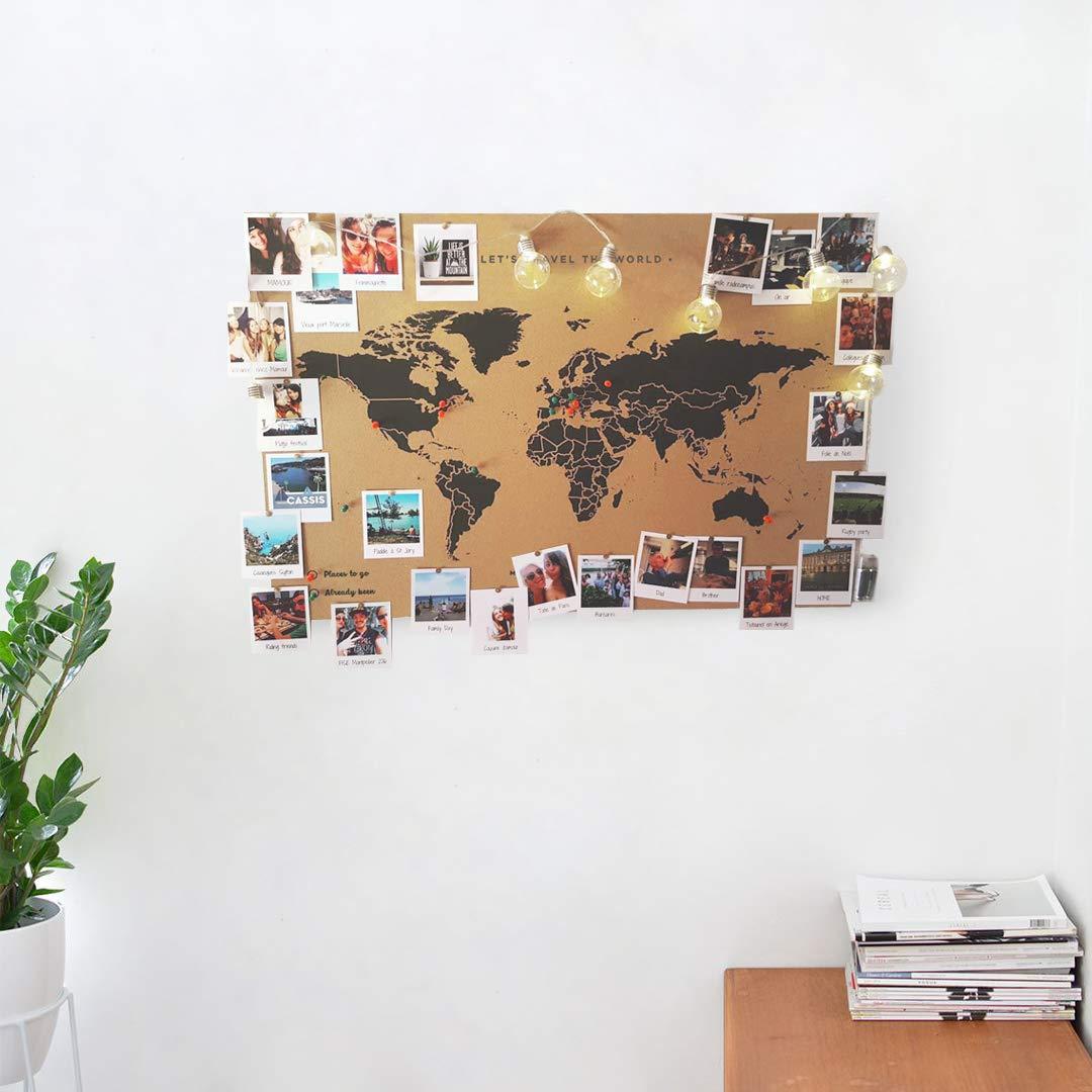 Carte du monde en liège sans cadre à personnaliser