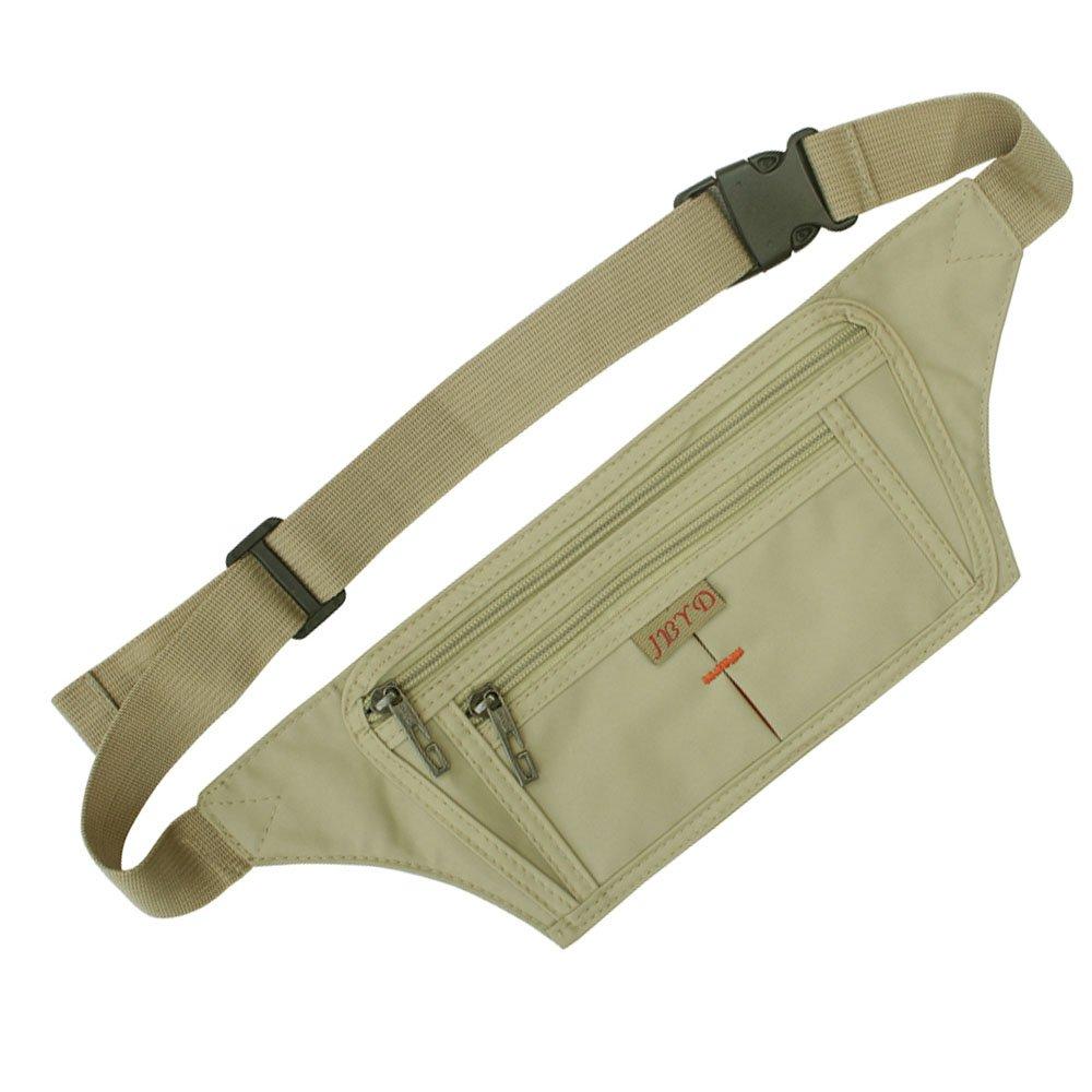 Naoki Outdoor Sports Running Jogging Cycling Hiking Camping Climbing Travel Ultra-thin Waterproof Polyester Waist Pack / Bag Runner Belt(Khaki)