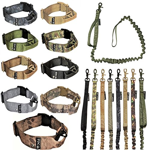 - FDC Dog Tactical COLLAR with LEASH Bungee Handle HEAVY DUTY Training Military Army Molle WIDTH 1.5in Plastic Buckle TAG HOLE Medium Large M, L, XL, XXL (XL: Neck 16