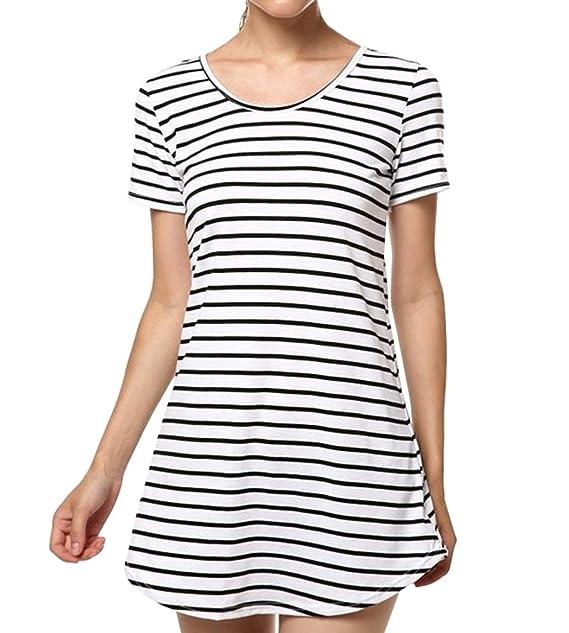 Ropa Casual Blusas Camisas Tops Camiseta Túnica Cuello Redondo Manga Corta a Rayas Camiseta Mini Vestido