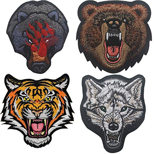 Wolf Head, Bear Angry Grizzly, Bear Claw, Tigger, DIY Biker Jacket Vest Applique Embroidered Patch Decorative Emblem Iron-On Emblem Badge Costume Patches ()
