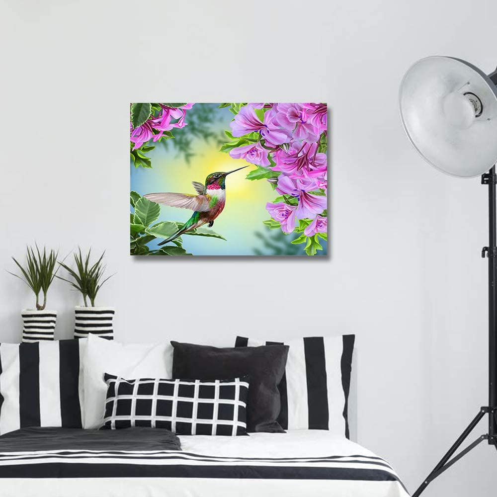Krisyeol Hummingbird Canvas Wall Art Painting Wall Decor Purple Flowers Spring Theme Painting on Canvas Artwork Wall Art for Office/Living Room/Bathroom Wall Decor 12x16inch