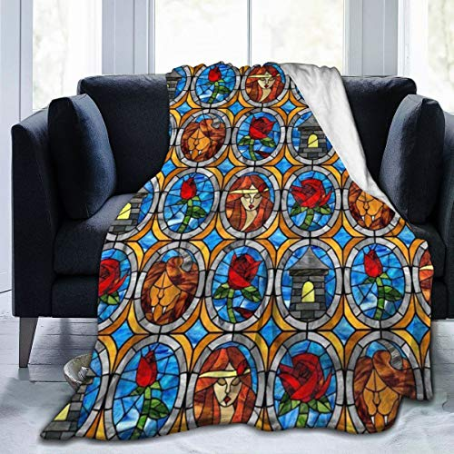 OLOSARO Beauty and Beast Fairytale Glass Fleece Blanket Throw Queen Size Lightweight Warm Soft Cozy Luxury Blanket Microfiber for Sofa Bed Couch Chair Fall Winter Spring Living Room (Fairy Tale Theater Beauty And The Beast)