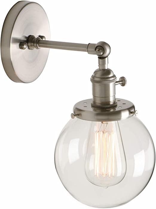 Pathson Industrial Vintage Loft Bar Kitchen Switch Wall Lights Fittings Corridor Sconce Light Lamp Fixture With 15cm Globe Clear Glass Lampshade