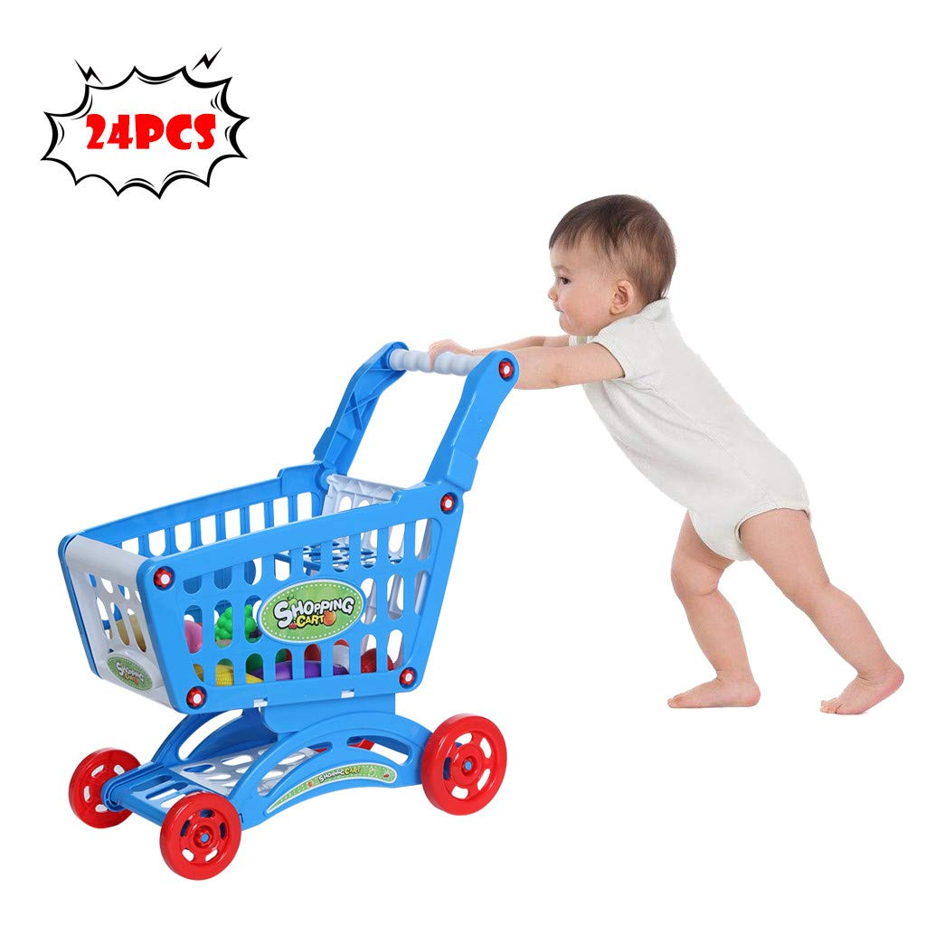TKI-S 3-Layer Design Shopping Carts with Simulation 24 Fruits and Vegetables Pretend Shopping Play Kid Educational Toy Gift Right for The Size of The Child (Blue , 20×17.7×8.9inch)