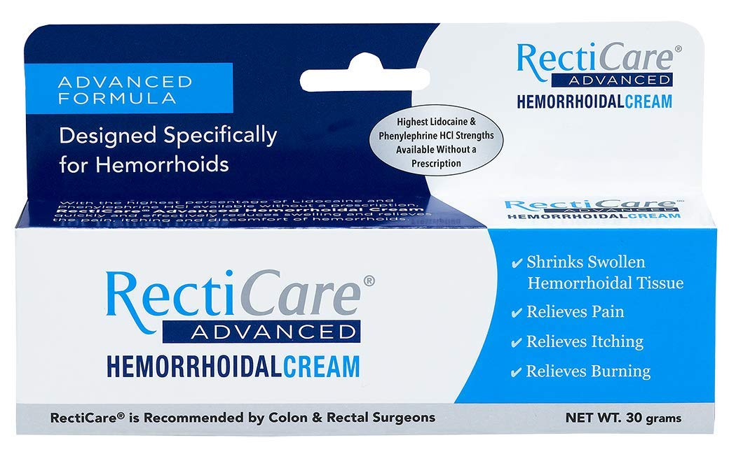 RectiCare Advanced Hemorrhoidal Cream: Advanced Treatment to Shrink & Soothe Hemorrhoids - Itch, Pain, Burn Relief - 30g Hemorrhoidal Cream with Lidocaine by Recticare