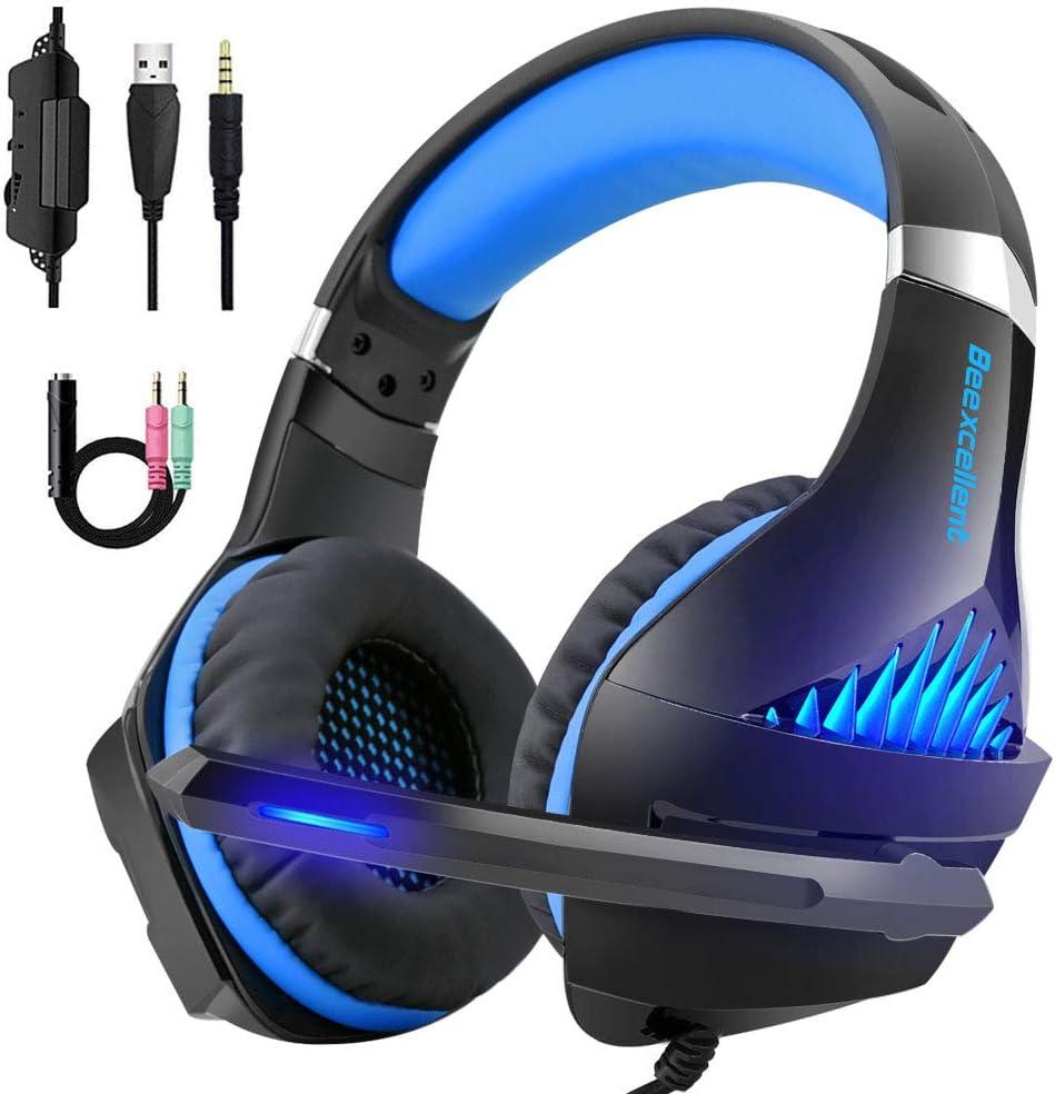 Beexcellent - Auriculares para videojuegos (3,5 mm, conector jack de 3,5 mm) para PS4, Xbox One, PC con cancelación de ruido, control de volumen, luz ...