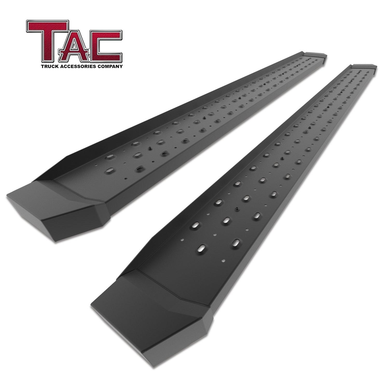 "TAC 6.5"" Running Boards for 2009-2018 Dodge Ram 1500 Crew Cab (Incl. 2019 Ram 1500 Classic) / 2010-2019 Dodge Ram 2500/3500 Crew Cab (Excl. Chassis Cab Diesel Models) Utility Black Rattler Steel"