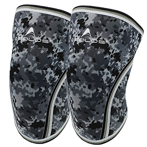 Knee Sleeves (1 Pair), 7mm Thick Compression Knee Braces Offer Strong Support for Weightlifting | Cross Training | Powerlifting | Bodybuilding | Squats | Gym and Other Sports (Camo Grey, Medium)