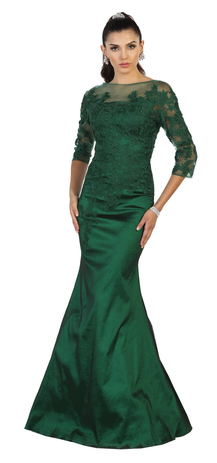 6504d2e56c5 May Queen MQ1501 Fitted Stretchy Formal Evening Gown (14