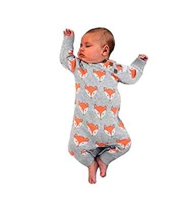357d56a6c SHOBDW Boys Rompers, Newborn Girl Fashion Cute Fox Print Warm Long Sleeve  Jumpsuit Infant Baby Spring Autumn Clothes: Amazon.co.uk: Clothing