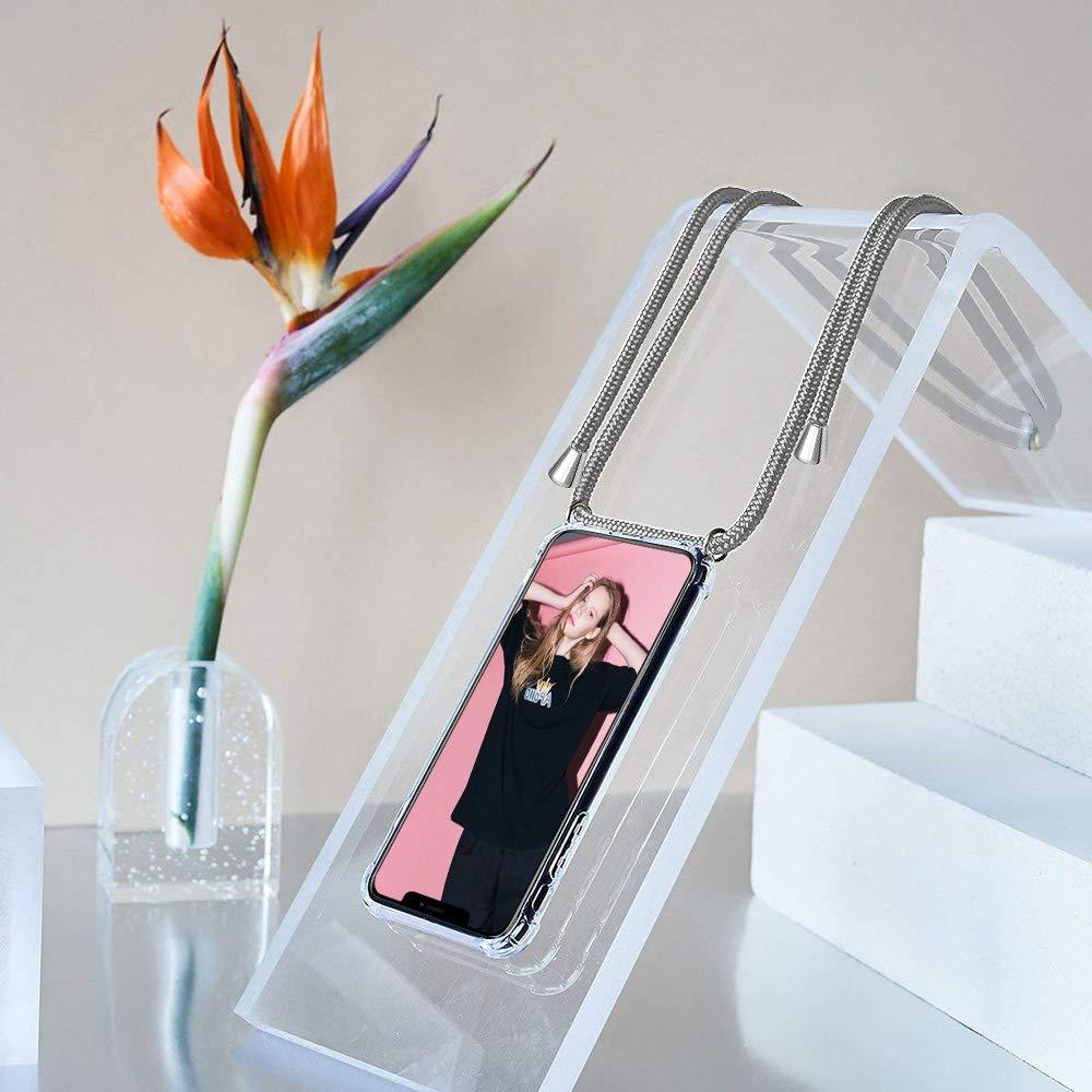 Moda y Practico - Negro Anti-rasgu/ños Anti-Choque XTCASE Funda con Cuerda para Samsung Galaxy S20 Plus Silicona Transparente Ultrafina Suave TPU Carcasa de movil con Colgante