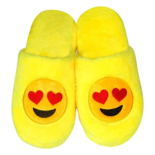 LUOEM Zapatillas de Estar por Casa Zapatillas Peluche Algodón Cómodas Pantuflas Invierno Antideslizante (Amarilla Divertida Cara Sonriente Corazón): ...