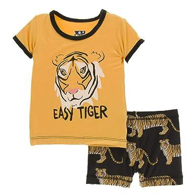 736fcedadff8 Kickee Pants Little Boys Print Short Sleeve Pajama Set with Shorts - Zebra  Tiger