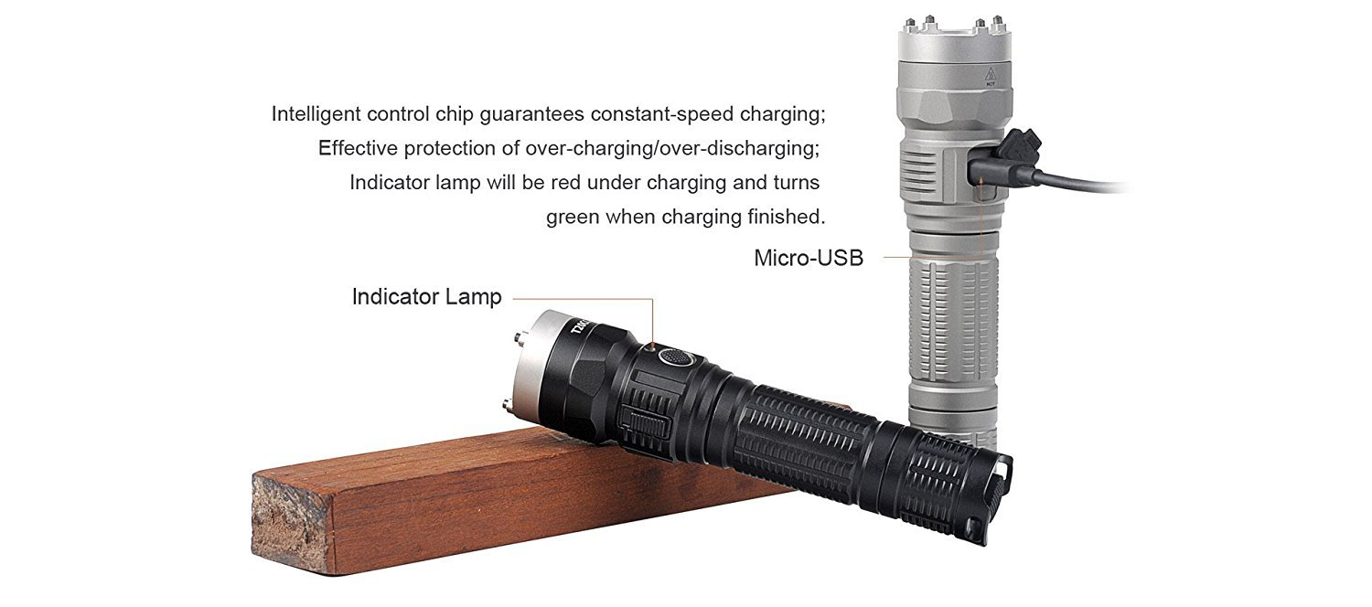 Sunwayman T20CC XM-L2 Magnetic Control Slider Rechargeable Tri-color Flashlight -1000 Lumens -Available in Black or Grey (Blsck)