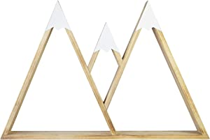 MOTLEY LANE Floating Mountain Shelf - Natural Wooden Mountain Range Shelf with White Metal Tops - Beautiful Minimalist Home Decor for Office, Living Room, Bedroom, or Kitchen - Ready to Hang