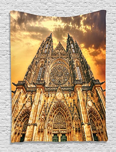 Famous Gothic Cathedral European Gifts Sunset Tower Medieval Architecture Prague Picture Tapestry Wall Hanging Believe Art Living Room Bedroom Decor, Brown Orange