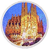 Pixels Round Beach Towel With Tassels featuring ''Sagrada Familia At Night'' by Jane Small
