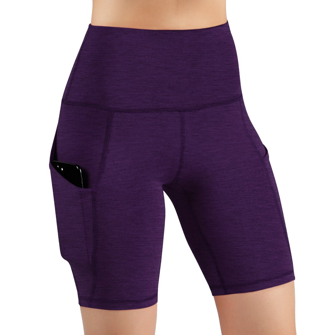 ODODOS High Waist Out Pocket Yoga Short Tummy Control Workout Running Athletic Non See-Through Yoga Shorts,DeepPurple,Medium by ODODOS