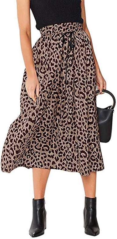 Vectry Para Mujer con Estampado De Leopardo Cordón Plisado ...