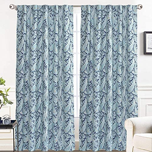 DriftAway Andrew Paisley Pattern Energy Saving Thermal Insulated Blackout Lined Back Tab Window Curtain 2 Panels