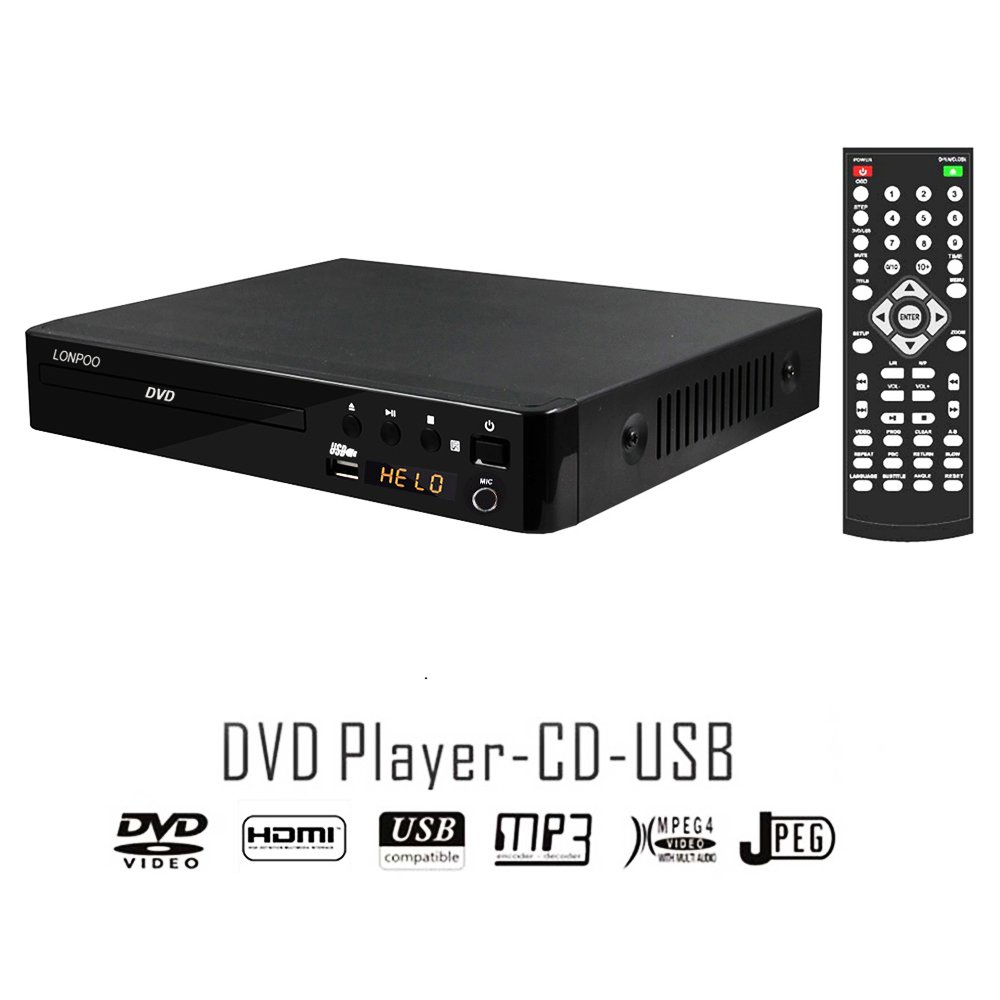 LP-099A Multi All Region Code Zone Free PAL/NTSC HD DVD Player CD Player with Remote & USB - Compact Design