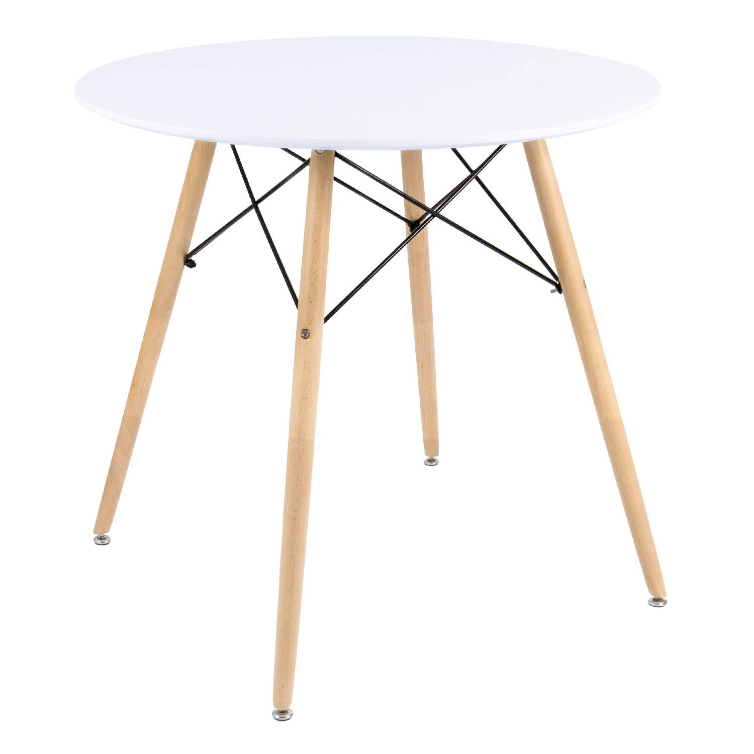 Furmax Kitchen Dining Table White Modern Style Round Leisure Coffee Table,Office Coference Desk with Wood Legs for Kitchen Living Room (001White)