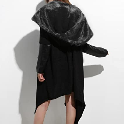 Amazon Womens Waterfall Faux Fur Jacket Plus Size Long Sleeve