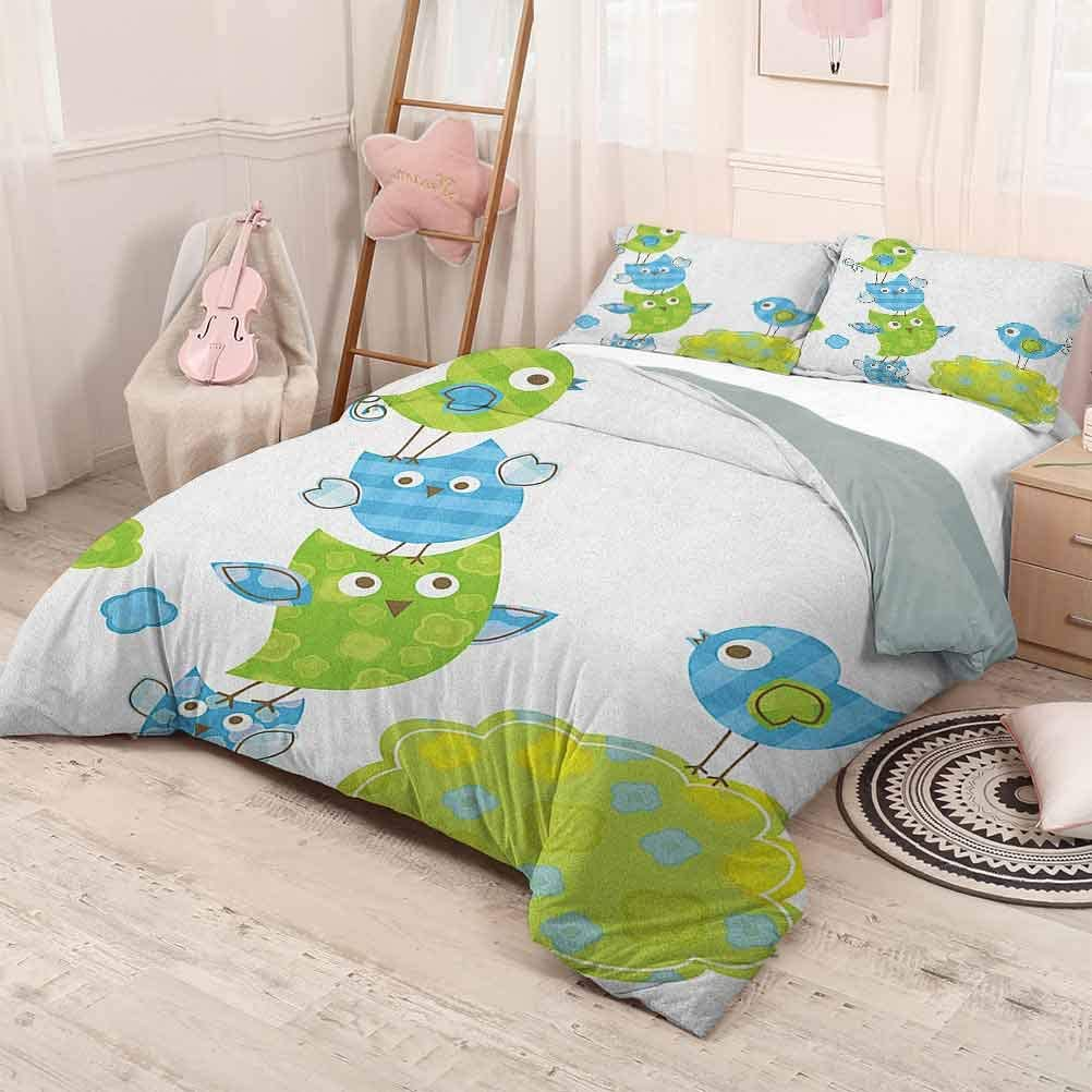 prunushome Nursery Duvet Cover Quilt SetLovely Happy Animals Playing with Each Other Singing Birds Colorful Art Design All-Season 3-Piece Lime Green Blue Full