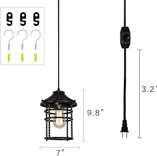 Creatgeek Vintage Pendant Light with 16 Plug in Cord and On Off Dimmer Switch, Industrial Oil Rubbed Hanging Light Fixture Swag Ceiling Chandelier Lamp for Bedroom,Kitchen,Porch