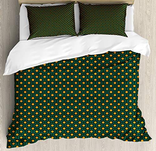 Ambesonne Oriental Duvet Cover Set King Size, Geometric Inspired Moroccan Style Folklore Floral Motif, Decorative 3 Piece Bedding Set with 2 Pillow Shams, Hunter Green Marigold Charcoal Grey